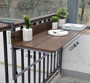Équipement quotidien Marron Hauteur réglable Table suspendue pliante Balcon Table de pont pliante Imitation Bureau d'ordinateur portable en bois Rampe de patio portable Table de lecture Patio de ja