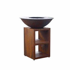 FARGAU INFRAROUGE Barbecue Braséro Plancha 3 en 1 existant en corten ou en Noir et différents diamètre (Diamètre 84cm corten)