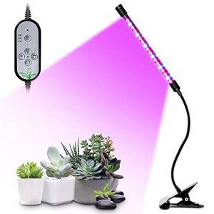 Flytise Usine USB élèvent la lumière Rouge et Bleu à Spectre Complet Angle d'age Pince de Bureau réglable Lampe de Croissance pour Plantes d'intérieur 5 Niveaux à intensité Variable 4/8