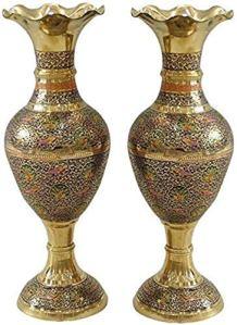 GAOYINMEI Table Basse Vase Vase Creative Simplicité Vases Salon de cuivre Pur Artisanat Ornements décoratifs Géométrie Ensemble 2 pièces d'or étage 40 * 16 * 12cm Décorations (Color : C)