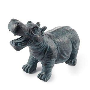 Gargouille Figurine Hippopotame Hippo En Pierre Synthétique – (L X Largeur X Hauteur): Env. 265 x 120 X 200 MM – Raccord de Tuyau 8/12 – Longueur Du 1,0 M – Jardin D'Eau Déco Figure D' Étang ,Esotec