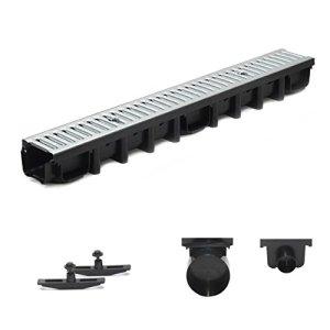 Gouttière de drainage en acier galvanisé – Système A15 – 1 m – 98 mm