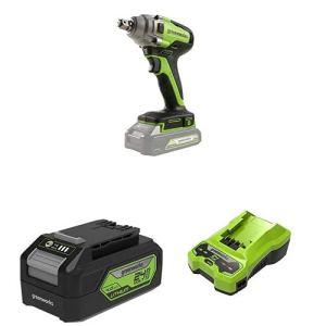 Greenworks Clé à chocs sans fil + Tools Batterie G24B4 2ème génération + Tools Chargeur de batterie G24C (Li-Ion 24 V sortie 48W convient à toutes les batteries de la série 24 V de Greenworks)