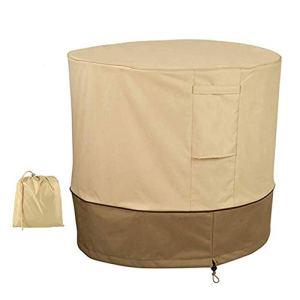 HEWYHAT Housse Ronde pour climatiseur extérieur, Anti-poussière, Anti-Neige, Housse en Tissu Oxford Robuste, avec Tissu Durable et résistant à l'eau,Beige