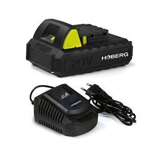 Hoberg Kit de démarrage avec batterie universelle 20 V, 2,0 Ah et station de charge, compatible avec tous les outils de jardin Hoberg, indicateur de charge intégré, fonction Easy Click