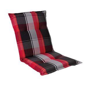 Homeoutfit24 Prato Coussin pour chaise de jardin avec coussin bas 103 x 52 cm 1-Stück rouge/noir