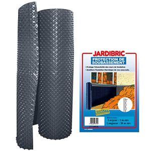 Jardibric – Membrane de fondation 1m x 20m protection de soubassement bi-couche en PE-HD à alvéoles – Bicolore extrudé noir – Poids 400 gr/m², épaisseur 520 microns
