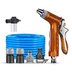 JHXL Tuyau d'arrosage série avec Pistolet Multifonction amélioré Pot de Mousse connecteur Lavage de Voiture Ménage/Tuyau Propre (Size : 50m)