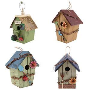 joyMerit Kit de 4 Nichoirs Oiseaux Cabane à Oiseaux Maison en Bois Rustique Deco Jardin