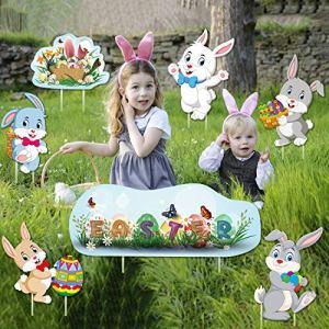 JoyPlay 8 pièces Oeufs de Lapin de Pâques Signes ondulés Multicolores pour la Cour extérieure décoration de fête de pelouse