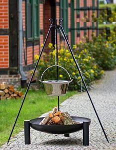 KORONO B Ensemble barbecue pivotant 180 cm, brasero et chaudière en acier inoxydable Modèle B Gulaschkessel 14l und Feuerschale 80cmØ