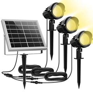 Lampe Solaire Exterieur Spot solaire exterieur MEIKEE à piquer ou mural Etanche IP66 3000K blanc chaud 450LM, lumiere exterieur solaire idéal pour Jardin, Terrasse, Arbustes, Massifs Lot de 3