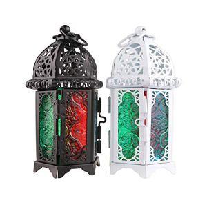 Lanterne de Jardin Vintage en métal à Suspendre pour intérieur ou extérieur Blanc