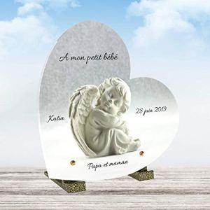 Le Coq Funéraire – Plaque Funéraire Personnalisée Forme Coeur – Thème Ange – Plaque en Altuglass – Résistante aux Intempéries et Traitée Anti UV – Dimensions 21×21 cm…