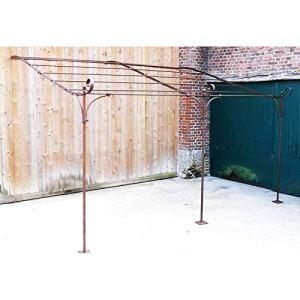 L'Héritier Du Temps Véritable Pergola Abris de Terrasse Tonnelle de Jardin en Acier Brut Oxydé 300x310x385cm