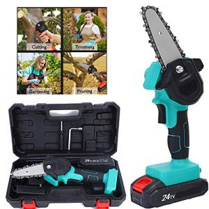 LINRUS Mini Kit Scie Chaîne sans Fil, Mini Scie à Chaîne Électrique Portable 4 Pouces 24V avec 2 Pièces Batterie Rechargeable Sécateur Poche Scie à Chaîne pour la Coupe Bois Branche d'arbre,Blue