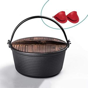 LTLWSH Cocotte en Fonte Dutch Oven 4.8 Liter en Bois Couvercle et avec lève-Couvercle pour Barbecue Pique-Nique Cuisine Jardin