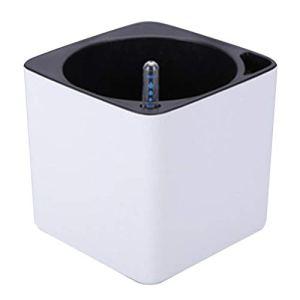 MagiDeal Jardinière en Plastique avec Arrosage Automatique avec Indicateur de Niveau d'eau, Blanc – S
