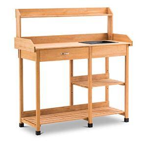 MCombo 0458 Table de jardinage avec lavabo et étagère Naturel