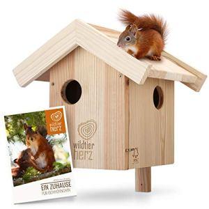 Nichoir pour Ecureuil en Bois – Maison pour Écureuils, Imperméable et Résistant aux Intempéries, Hotte pour Écureuil avec 3 Entrée