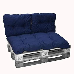 Oliver's Kit Coussins Palette Polyester Coton Bleu Marine 1 Assise + 2 dossiers 120×80 cm