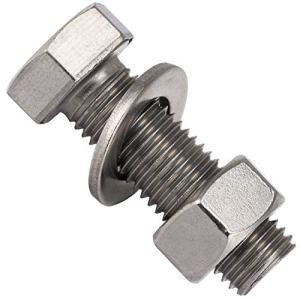 OPIOL QUALITY® Lot de 2 vis à tête hexagonale M10 x 45 avec écrous et rondelles M10 en acier inoxydable A2 V2A DIN 933 / DIN 934 / DIN 125
