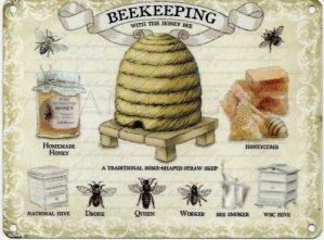 Original Metal Signs – Grande Plaque en métal avec Illustration d'apiculture – 40cm x 30cm