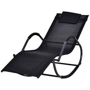 Outsunny Chaise Longue à Bascule Rocking Chair Design Contemporain dim. 160L x 61l x 79H cm métal textilène Noir