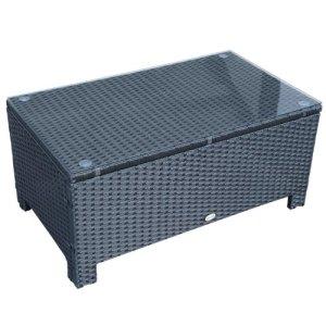 Outsunny Table Basse de Jardin Plateau Verre trempé 5 mm rotin tressé 85 x 50 x 39cm Max. 50 kg Noir
