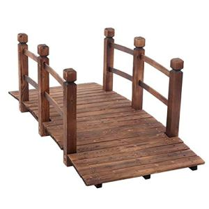 Pont de jardin en bois de 1,5 m, pont de jardin avec garde-corps, pont décoratif pour jardin, ferme, anti-corrosion et humidité (marron)