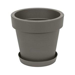 Pot de Fleur avec Soucoupe en Plastique Lofly, Classique, 35 cm diam, Gris