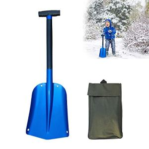 Promise2134 Pelle à Neige Multi-Usage compacte en Aluminium avec Sac de Rangement (Bleu)