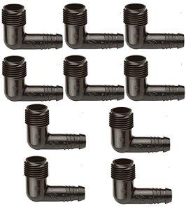 Rain Bird Coude 1/2″ avec embout caoutchouc pour tuyau flexible Lot de 50 pièces Noir