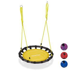 Relaxdays Balançoire nid d'oiseau rond 80 cm à suspendre panier enfant adulte jardin extérieur 100 kg , jaune
