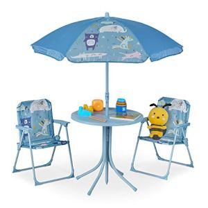 Relaxdays Ensemble de sièges pour Enfant avec Parasol, Motif Animaux pour Le Camping, la Plage et Le Jardin, Bleu