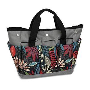 Sac de rangement pour outils de jardin avec 9 poches – Cadeaux de jardinage pour femme, sac fourre-tout robuste pour ensemble d'outils, kit d'intérieur/extérieur, organiseur (gris + imprimé)