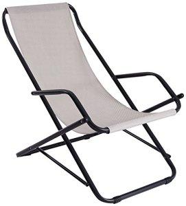 Stiliac Chaise Longue à Bascule, Tourterelle, Tube Rond