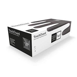 TouchGuard Gants à usage unique noirs en nitrile, non-poudré et sans latex, boîte de 100, taille L