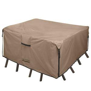 ULT Coque 600d PVC Durable Carrée, rectangulaire ou Table Patio Ovale avec Housse de Chaise, 100% étanche pour Meubles d'extérieur Couvertures Square 74″(L) x74(W)