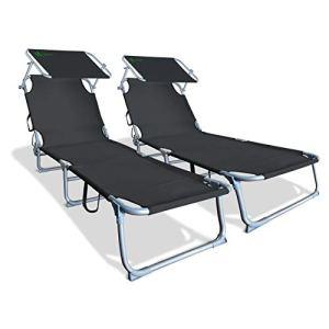 VOUNOT Lot de 2 Chaise Longue Bain de Soleil avec Pare Soleil   Transat Pliable avec Parasol   Bain De Soleil inclinable en Polyester   Charge Max 110KG   Chaise Longue réglable Noir