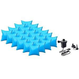 well2wellness Coussin Gonflable d'hivernage pour Piscine + Pompe électrique – 24 Coussins