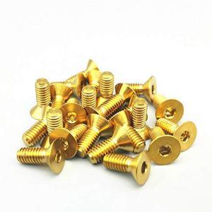 ZIJ Boulons en titane M3 M4 M5 M6 M8 à tête fraisée dorée à six pans creux de couleur (couleur : dorée, taille : M6 x 35)