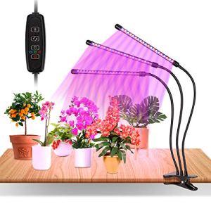 60 LEDs Lampe Horticole, 3 Têtes Grow Light à 360° Éclairage Horticole 10 Luminosités 3 Modes Lampe Plante Spectre Complet Avec Chronométrage AUTO – ON/OFF 3H / 9H / 12H