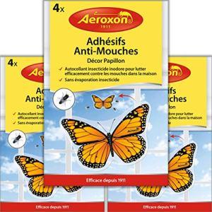 Aeroxon – Adhesifs Anti-Mouches – Appât à Mouches pour fenêtres – 3×4 = 12 pièces Paquet spécial – Plus de Mouches collées à la fenêtre – Maintenant Substance Active au Lieu de Colle