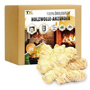 Allume feu naturel cheminée   Laine de bois écologique   Allumes-feu idéal pour poêle à bois – barbecue – fours à pizza (1 kg)