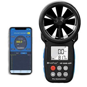 Anémomètre sans Fil Numérique avec Contrôle et Enregistrement Smart APP Pris en Charge, Compteur de Vitesse du Vent Bluetooth pour Mesurer la Vitesse du Vent, Température et Refroidissement éolien