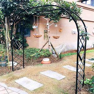 Arche de Jardin en Métal Robuste de 1,4 M, Grande en Arche a Rosiers Noir, Blanc, Pour Plantes Grimpantes Soutiennent la Décoration de Jardin en Arcade, Arceau de Mariage de 3,4 M, Facile a Assemble