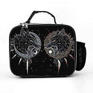 AXGM Sac isotherme viking loup lune, sac à déjeuner, sac de pique-nique, sac isotherme, étanche, sac de pique-nique, pour camping, randonnée, pique-nique, blanc, taille unique