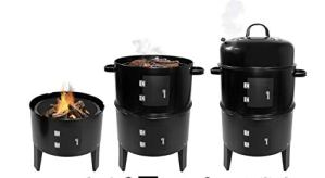 Barbecue à Charbon de Bois Fumoir 3 en 1 avec Thermomètre, Grill BBQ Smoker