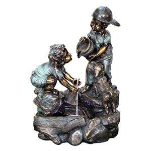 Beckett Corporation Fontaine à eau pour garçon et fille – Décoration extérieure pour terrasse, porche, jardin, étang Koi, pompe incluse, bronze